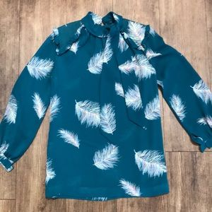 Beautiful sheer blouse w feathers